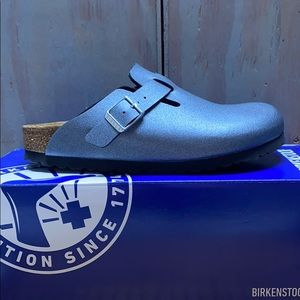 NWT Birkenstock Boston Icy Metallic Anthracite N